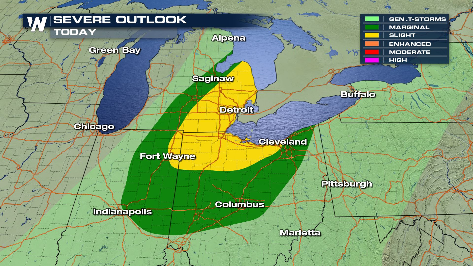 Severe Weather Chances Across the Great Lakes Friday