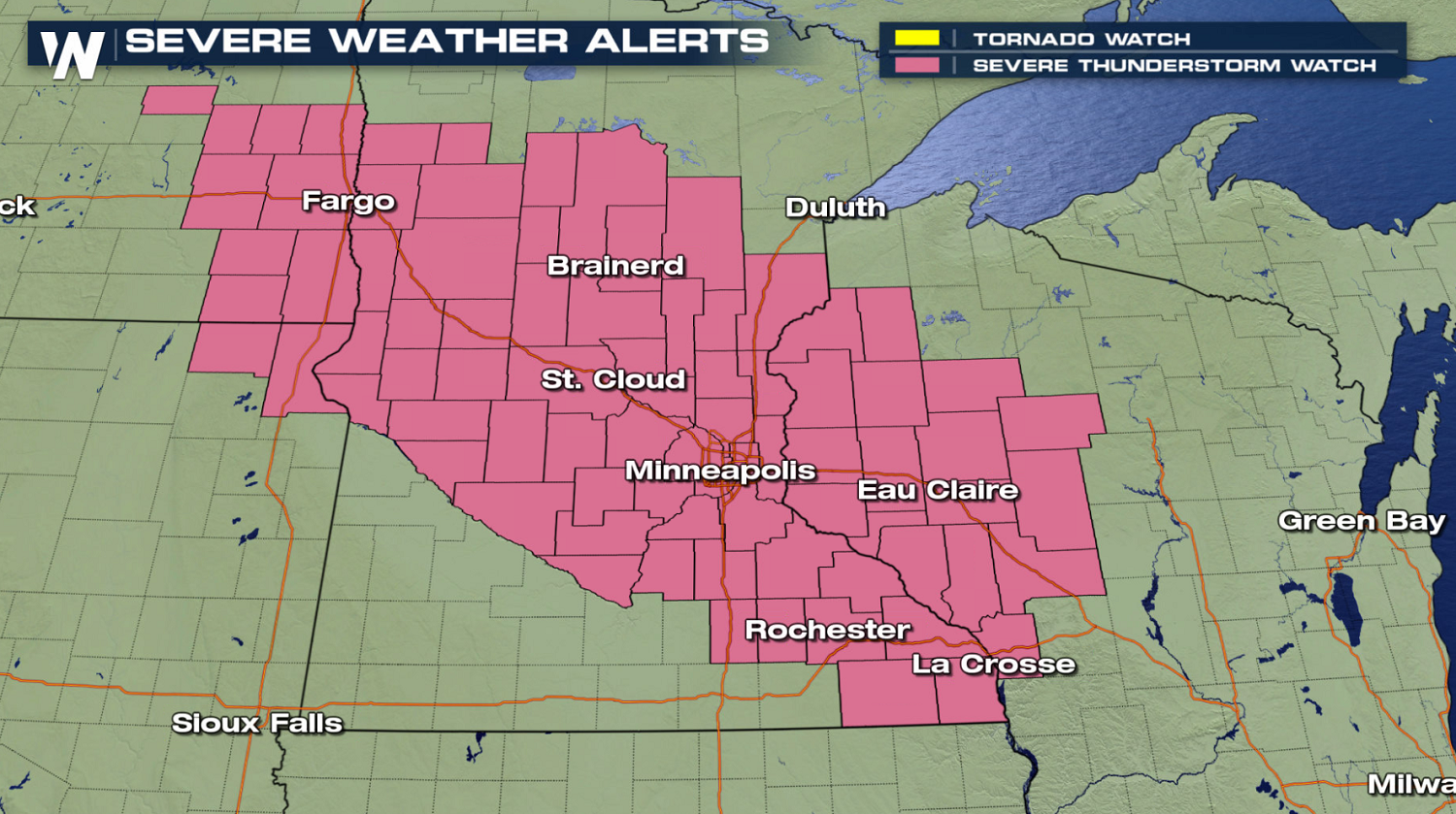 Damaging Wind Gusts Possible with Upper Midwest Severe Storm Tonight