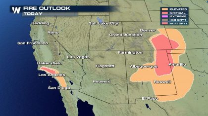 Fire Weather Risk for the Western U.S. Sunday