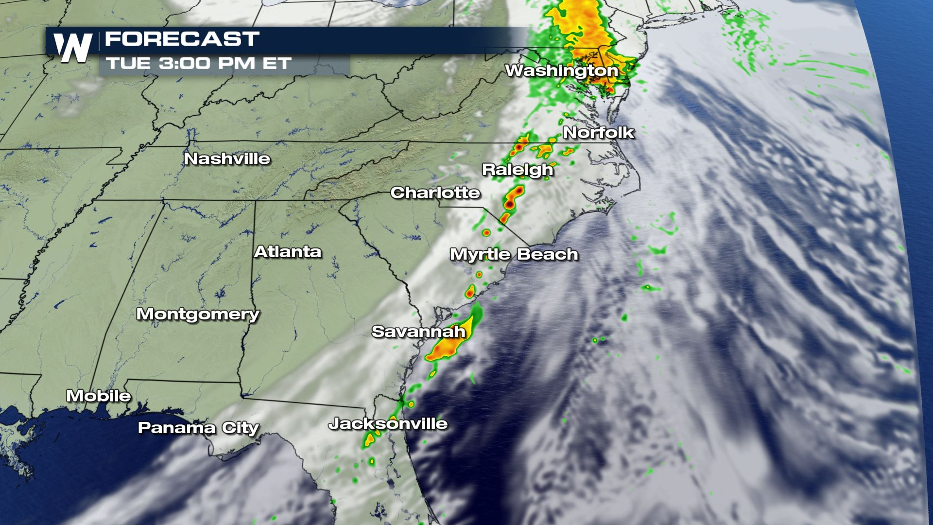 Severe Storms Possible in the Eastern U.S. Tuesday