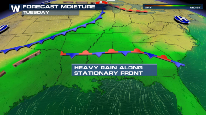 Continued Heavy Rain for the Southeast Wednesday