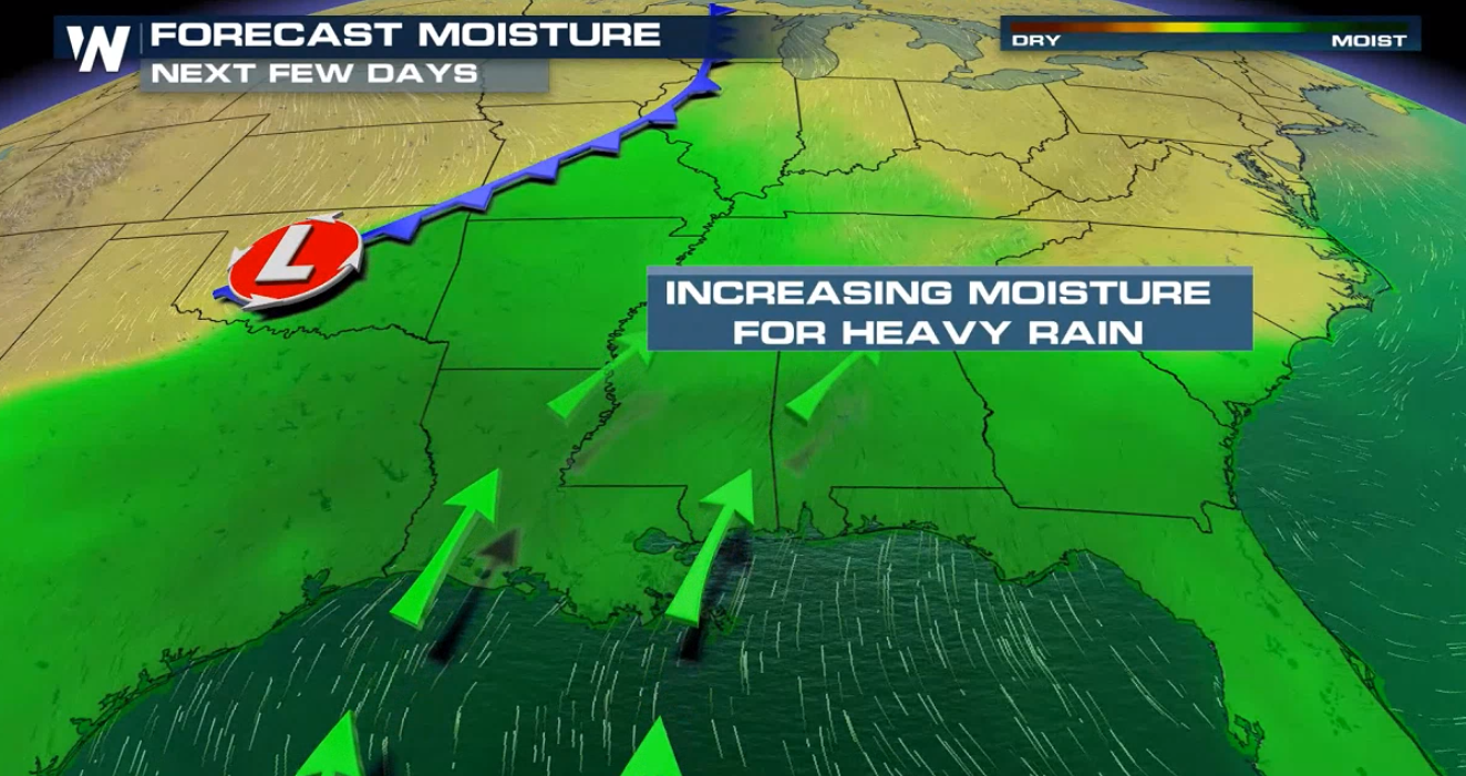 Heavy Rain for the Southeast and Mississippi Valley This Week