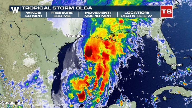 Tropical Storm Olga Named in the Gulf