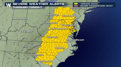 Heavy Rain & Severe Threat In The East