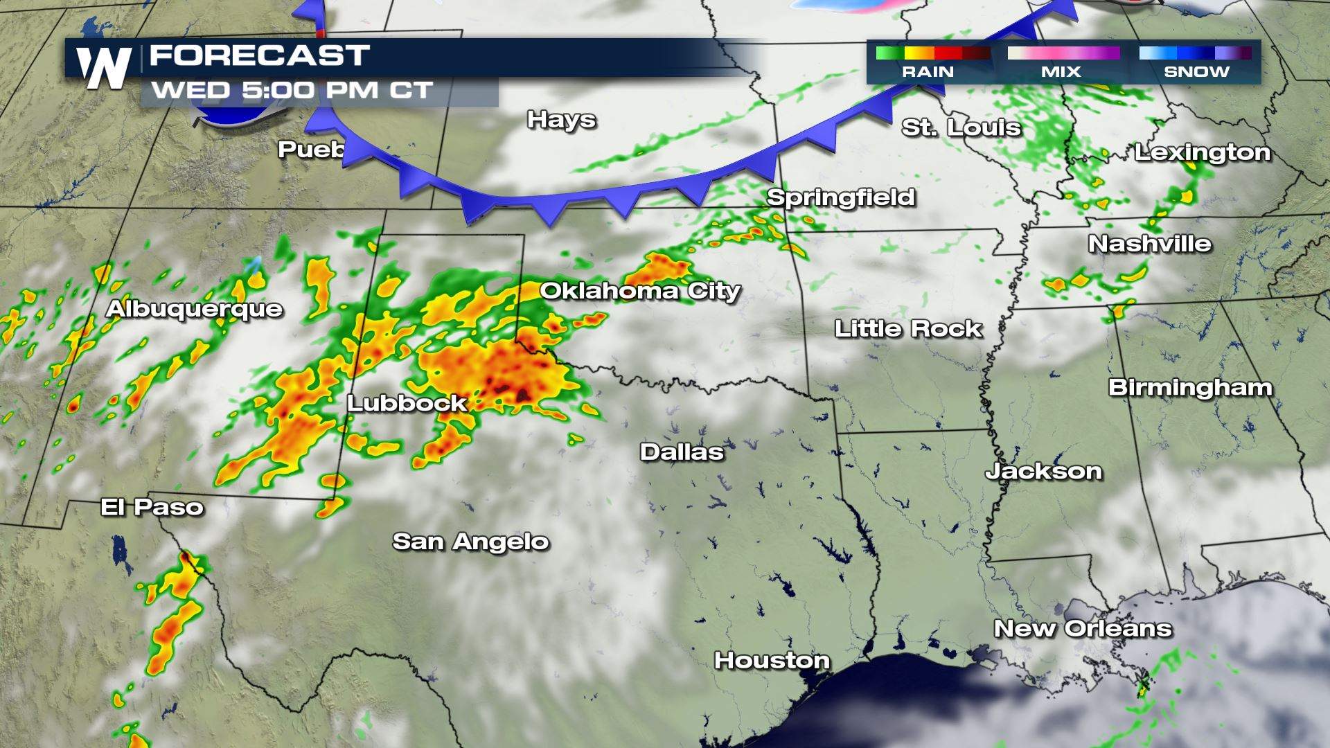 Severe Storm Chances Wednesday from Arizona to Texas