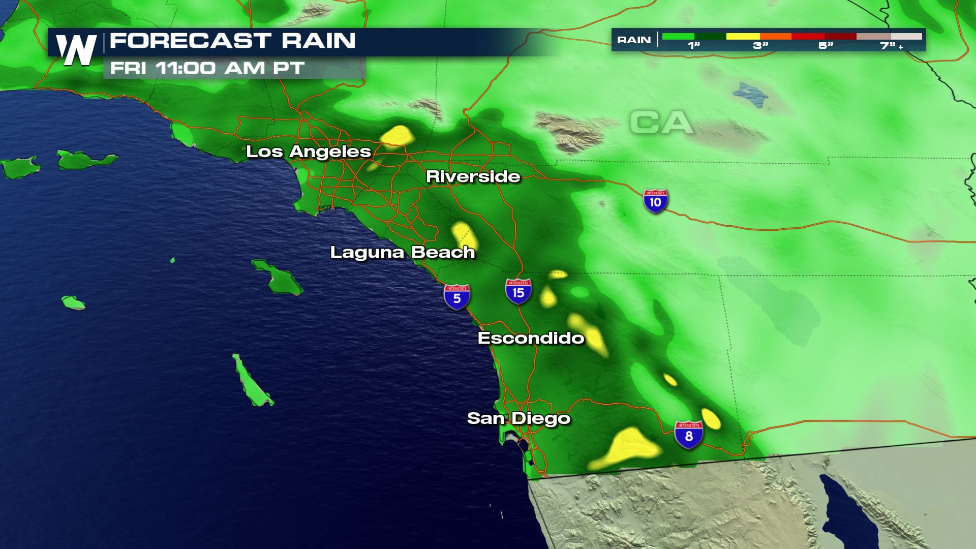Heavy Rain for Southern California Wednesday and Thursday