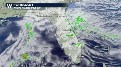 Showers and Isolated Storms for Florida Monday