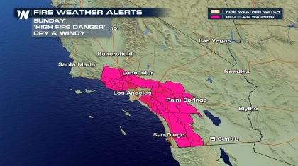 Fire Danger for Southern California Sunday