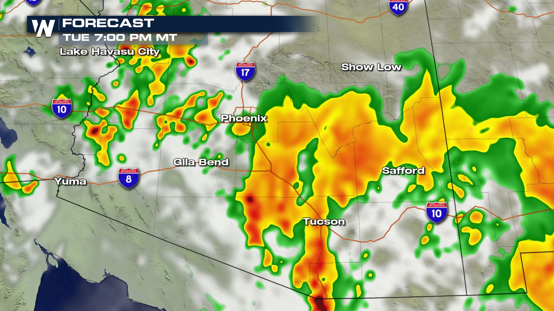 Isolated Severe Storms for Southern Arizona Tuesday