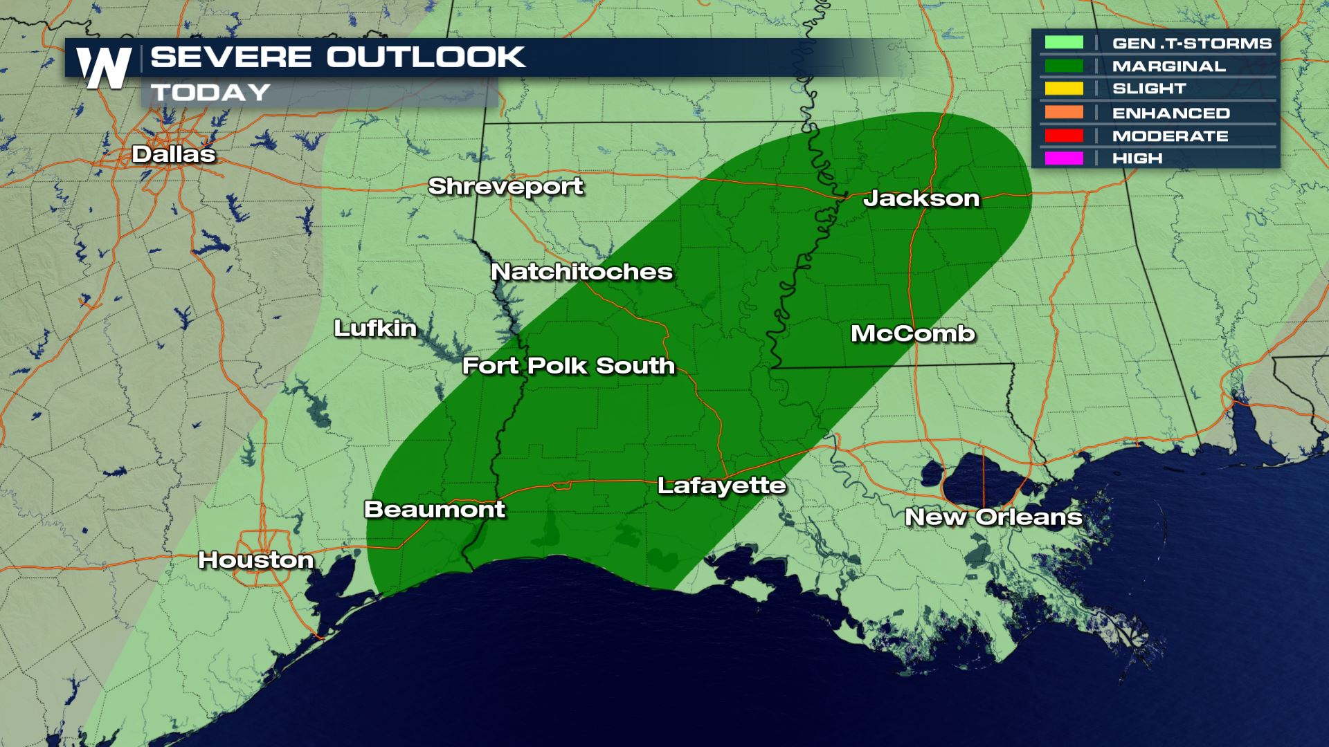 Possible Severe Storms for the South Friday