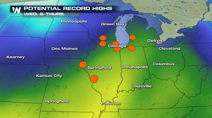 Potential Record Highs and Above Average Temps