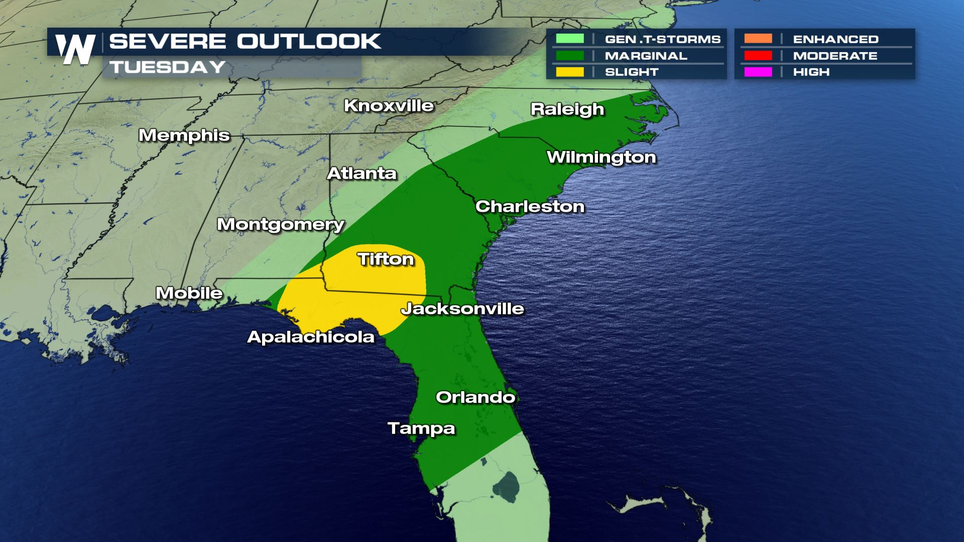 Severe Weather Risk Continues For The Southeast Tuesday