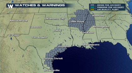 Dense Morning Fog Sunday From the Gulf Coast to the Mississippi Valley