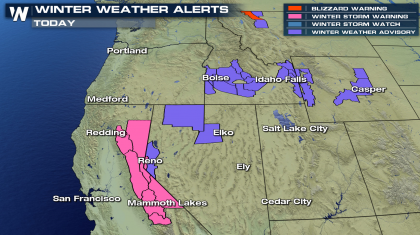 Wind and Heavy Snow and Rain for California and Northwest Mountains