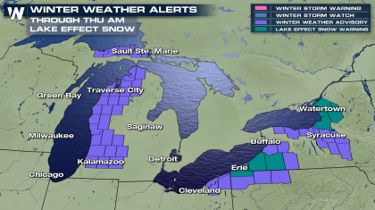 Lake Effect Snow Throughout the Great Lakes