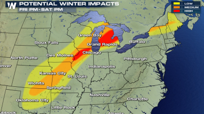 Snow and Ice Threatens Areas from the Plains to New England