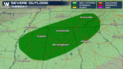 Tuesday Severe Weather Chances in the Southeast