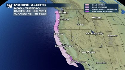Strong Winds Bring Dangerous Conditions to the West Coast Monday