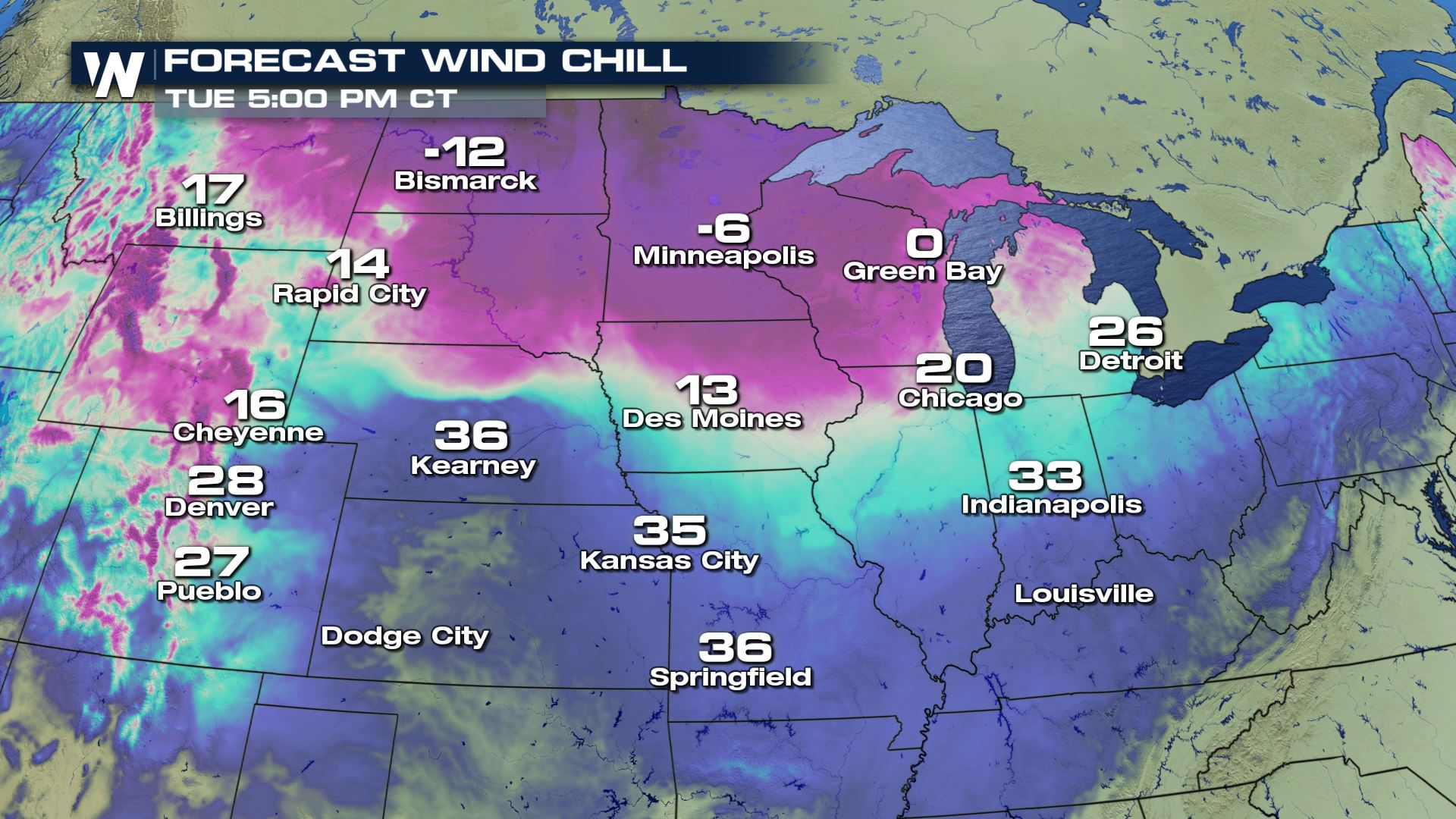 Strong Wind Chills for the Northern Plains and Great Lakes Tuesday