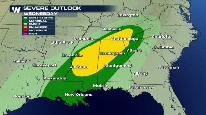 Severe Weather Possible Wednesday from the Gulf Coast to the Tennessee Valley