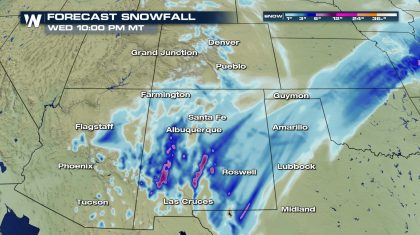 Snow and Some Ice for New Mexico and Texas Tuesday