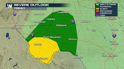 Isolated Severe Storms for Texas Sunday
