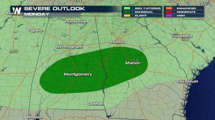 Isolated Severe Storm Chances Monday for the Southeast