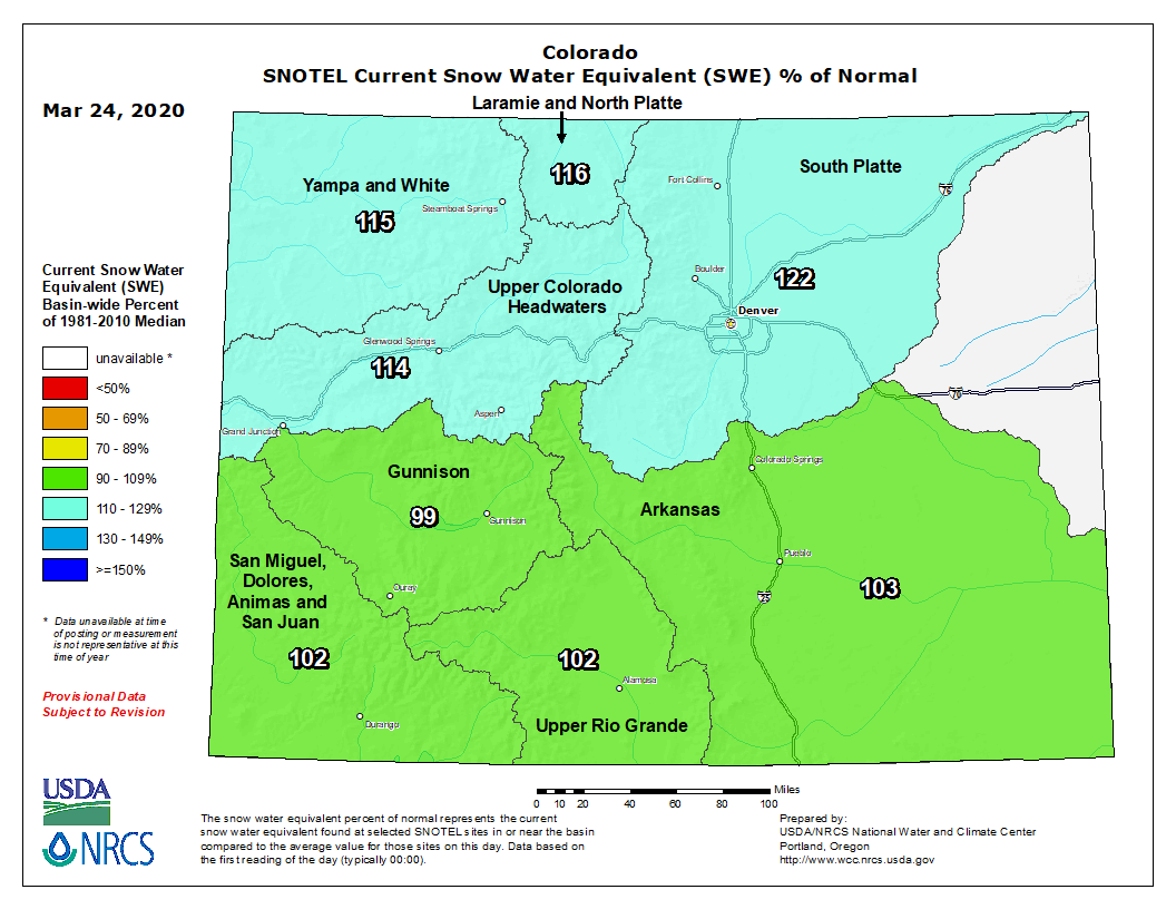Colorado Snow Pack & Reservoir Storage in Good Shape Heading into April
