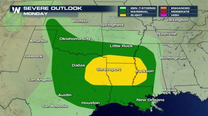 Severe Storms Possible Across the South Monday and Tuesday