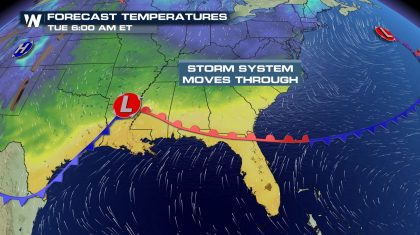 Temperature Rollercoaster Ride En Route for Southeast