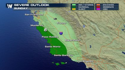 Isolated Severe Storms Sunday for California