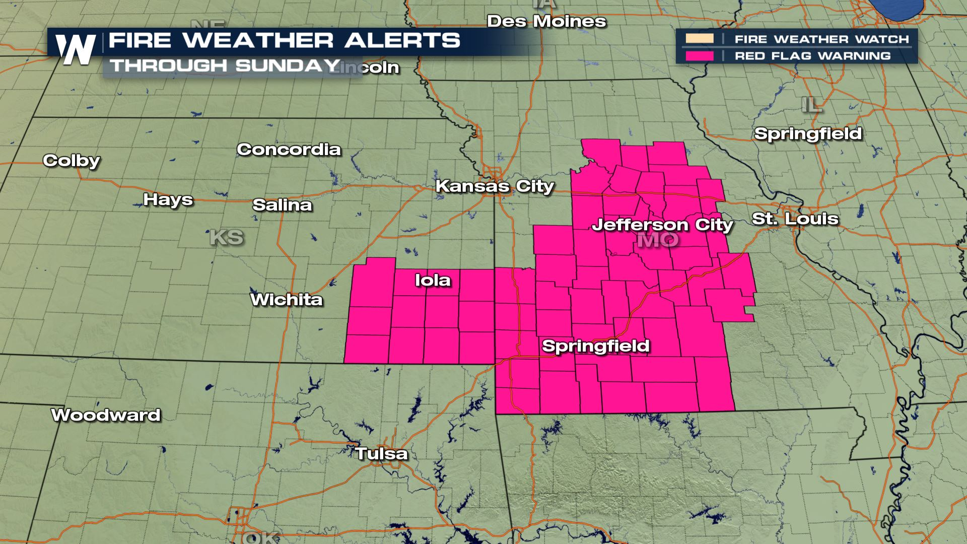 Fire Weather Risk for the Plains Sunday