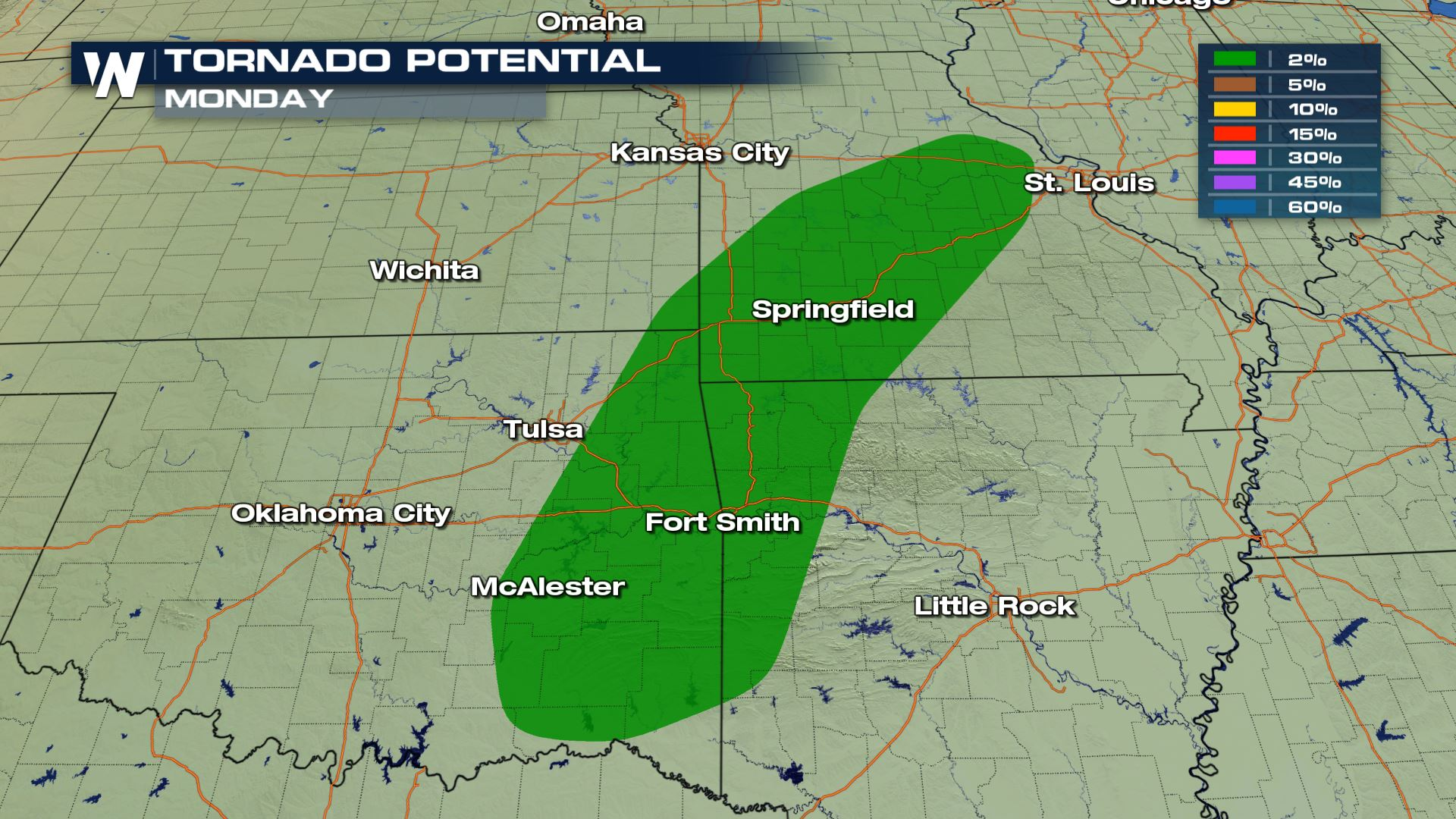 Isolated Severe Storms Today for Oklahoma, Arkansas and Missouri