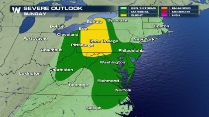 Severe Storms from the Ohio Valley to the Mid-Atlantic Sunday