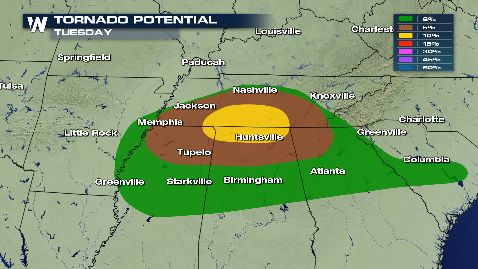 Numerous Severe Storms Possible for the Tennessee Valley Tuesday