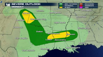 Severe Weather Risk for the South Monday and Tuesday