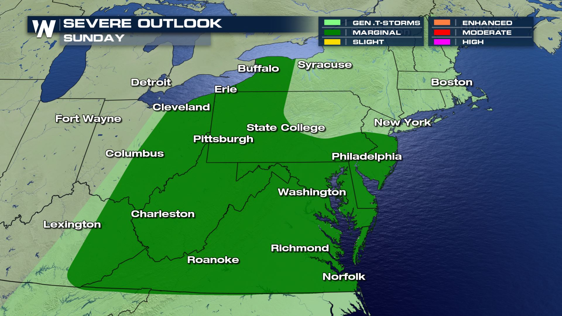 Severe Storms Possible on Sunday in the Northeast