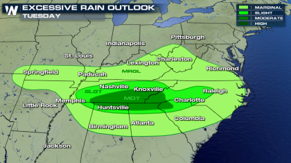 Flooding Risk in the Southeast into Early Wednesday