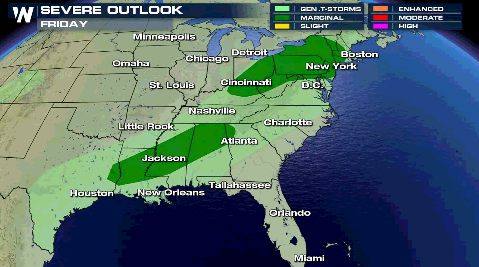 Strong Storms Possible in the Northeast & Southeast