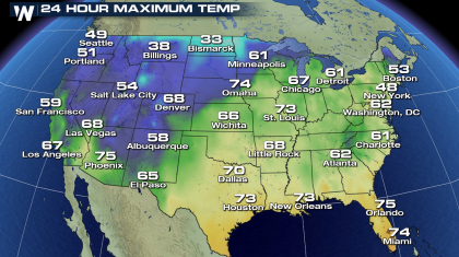 Spring-like warmth takes hold of much of the country