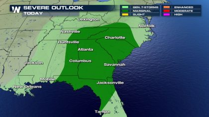 Severe Threat Shifts to the Southeast for Wednesday and Thursday