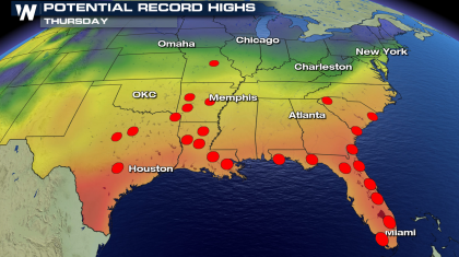 Heat Builds Across the Eastern Half of the Nation