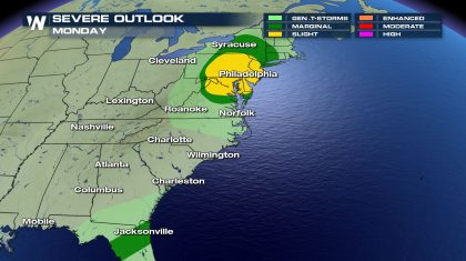 Monday's Severe Weather Risk Areas