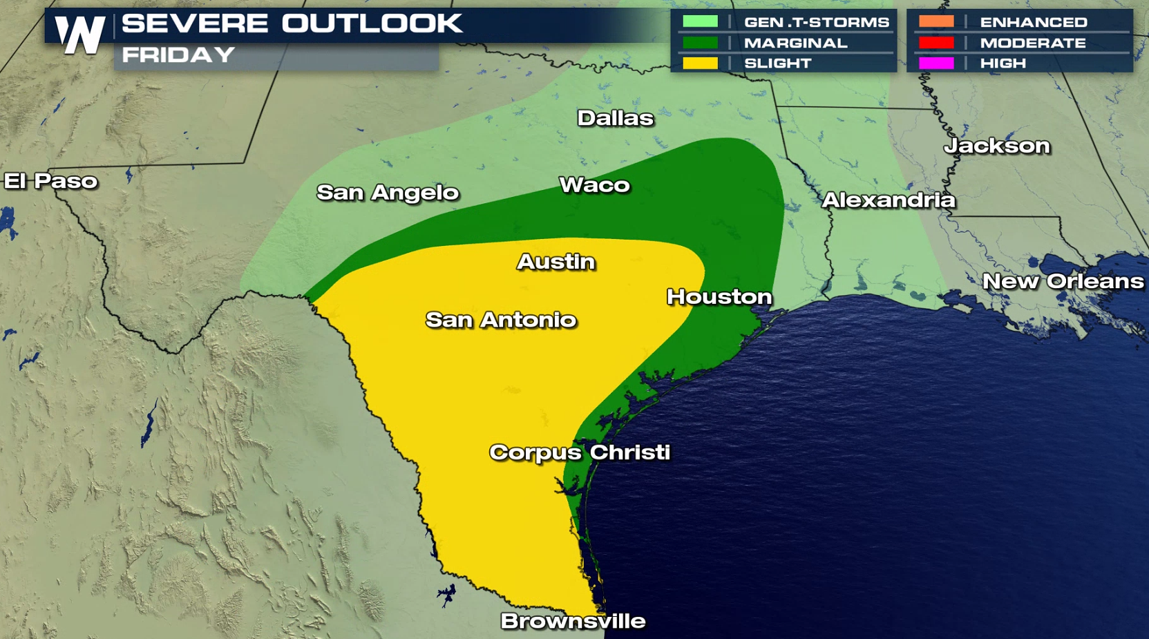 Threat for Severe Storms in Texas