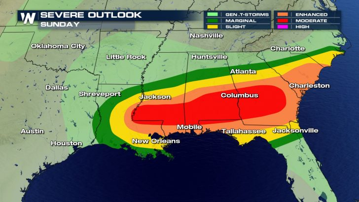 Severe Storms Move Through Southeast; More Likely Monday Morning
