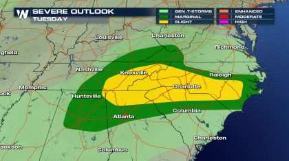 Severe Threat Moves South, East for Tuesday