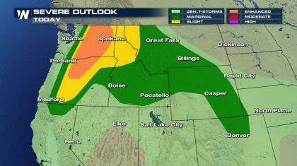 Severe Storms Possible in the West and High Plains
