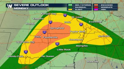Severe Storms Across Central Plains Monday