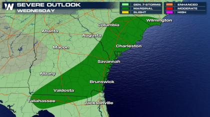 Severe Storm Potential in the South and Southeast