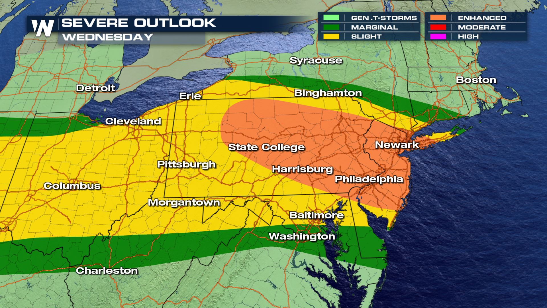 Elevated Risk for Severe Storms Wednesday